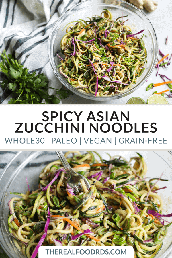 Pinterest image for Spicy Asian Zucchini Noodles