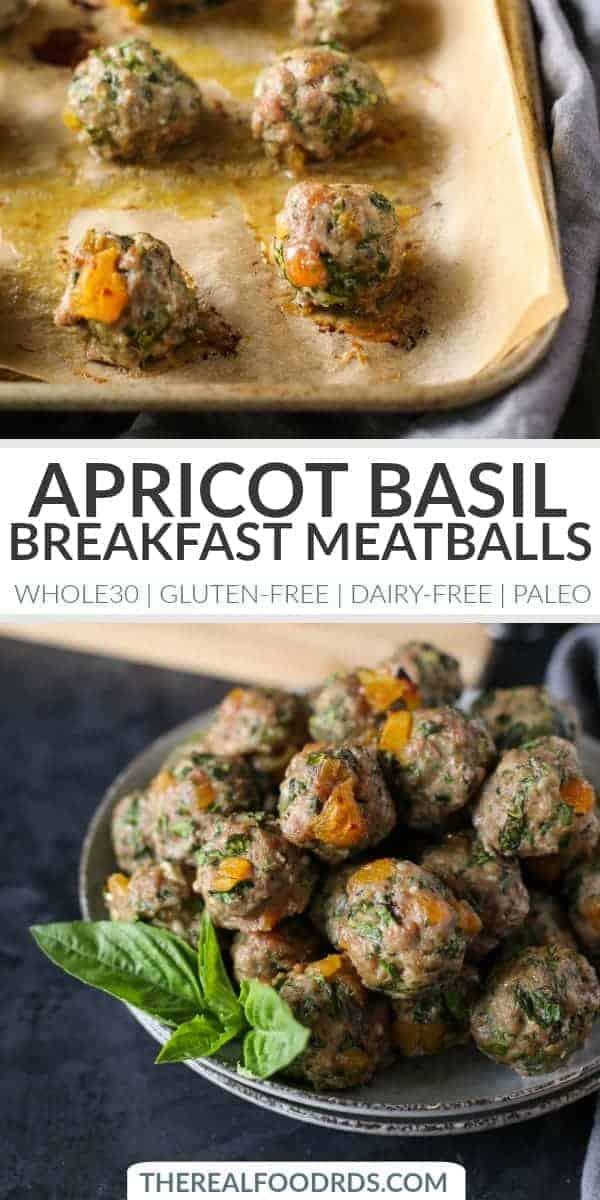 Pinterest image for Apricot-Basil Breakfast Meatballs