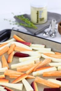 Garlic Roasted Root Vegetable Fries | The Real Food Dietitians | https://therealfoodrds.com/garlic-roasted-root-vegetable-fries/