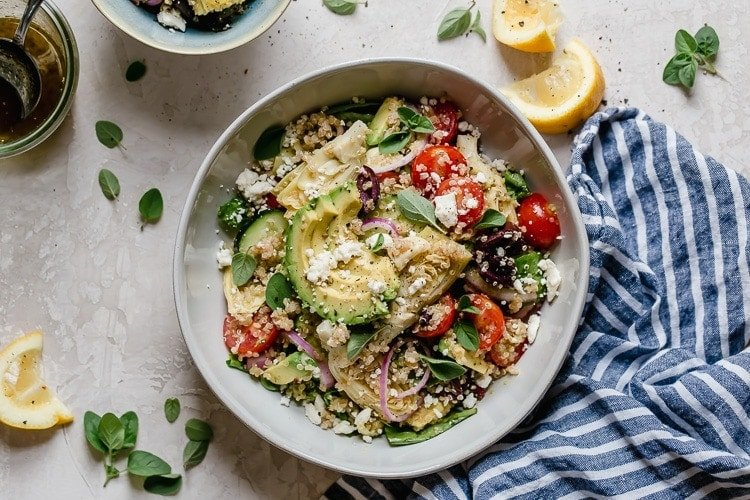 Greek Quinoa Salad With Avocado The Real Food Dietitians