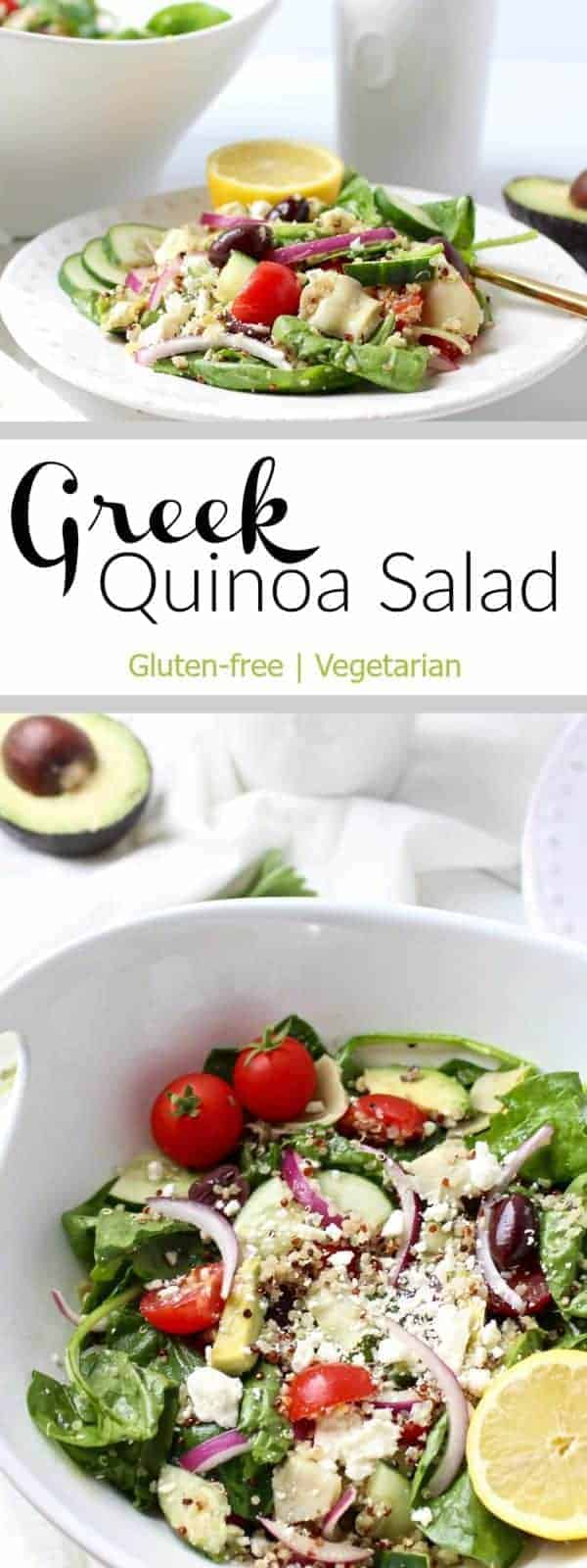 This gluten-free Greek Quinoa Salad is made with our favorite Extra Virgin Avocado Oil. It's perfect for lunch packing, end of summer picnics and holiday side-dishes | therealfoodrds.com | Gluten-free | Vegetarian
