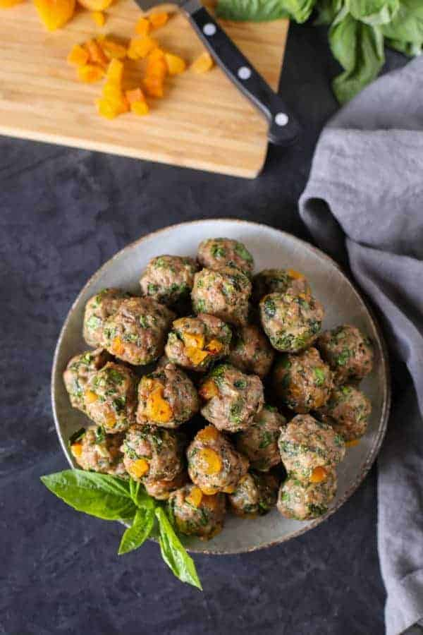 Apricot-Basil Breakfast Meatballs in a white bowl