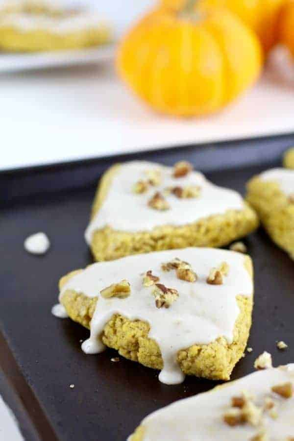 Gluten-Free Pumpkin Spice Scones | gluten free pumpkin recipes | gluten free breakfast recipes | how to make a homemade scone | homemade scone recipes | gluten free fall recipes | gluten free dessert recipes | gluten free scone recipe | gluten free recipe ideas || The Real Food Dietitians