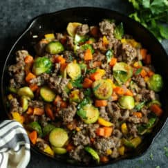 Brussels Sprouts Sweet Potato Hash | The Real Food Dietitians | brussels-sprouts-sweet-potato-sausage-hash