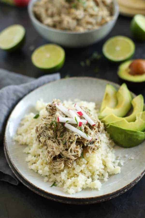 Slow Cooker Chicken Chili Verde ingredients on a small white platter