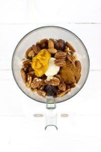 Pumpkin Spice Protein Bars ingredients in a blender