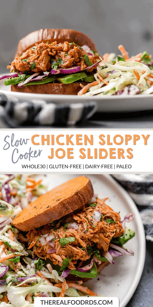 Long Pin image for Slow Cooker Chicken Sloppy Joe Sliders