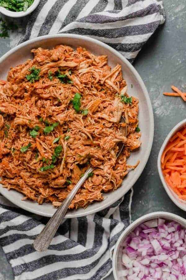 Overhead view of Slow Cooker Chicken Sloppy Joe Sliders ingredients