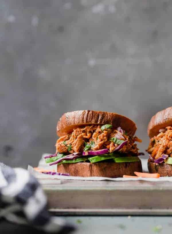 Side view of Slow Cooker Chicken Sloppy Joe Sliders