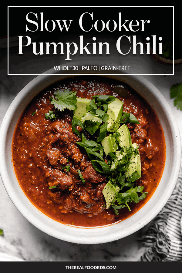 Pin image for Slow Cooker Pumpkin Chili