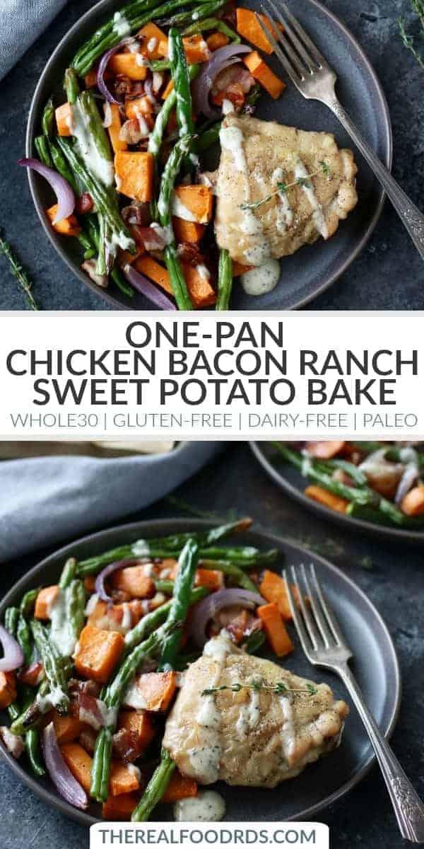 Pinterest image for Chicken Bacon Ranch Sweet Potato Bake