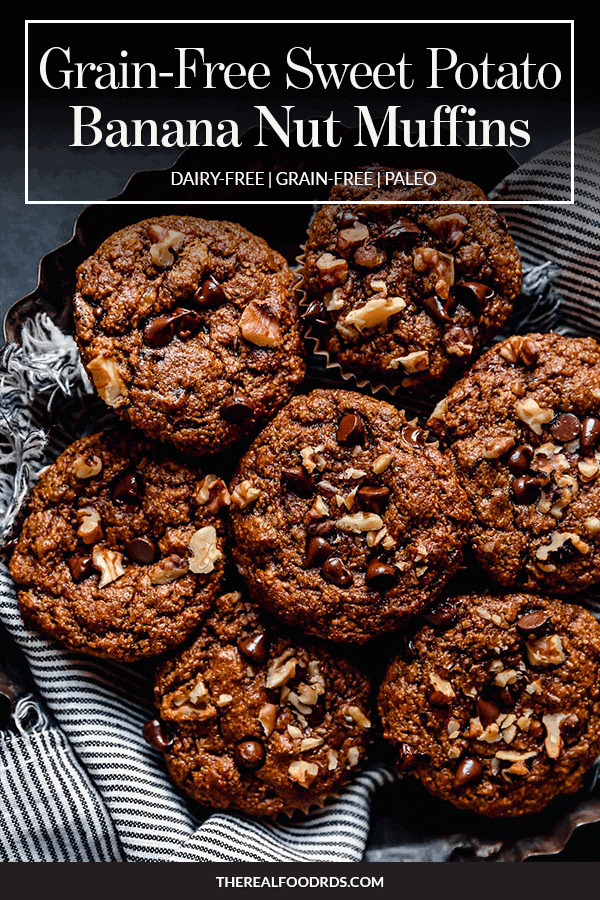 Pin image for Grain-Free Sweet Potato Banana Nut Muffins