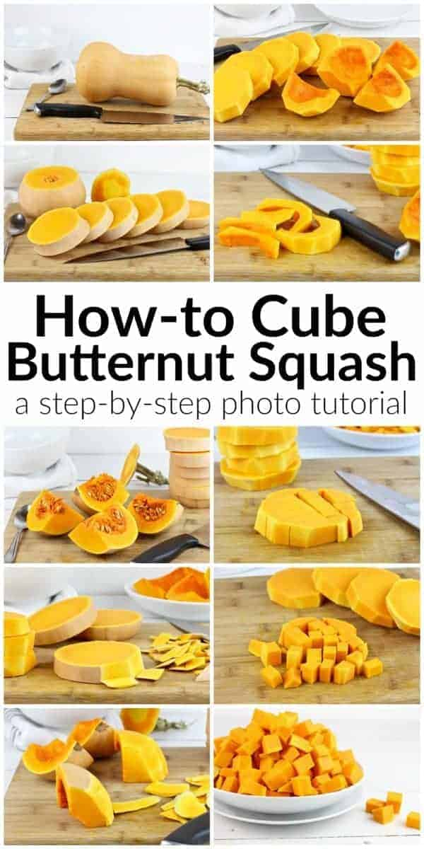 A step-by-step photo tutorial on How-to Cube Butternut Squash | How-to Cube Butternut Squash | how to cut butternut squash | how to peel a butternut squash | butternut squash tips | kitchen hacks || The Real Food Dietitians #butternutsquash #kitchenhacks