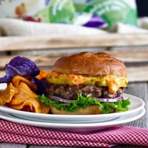 Bison Burger with Grilled Pineapple and Sriracha Aioli