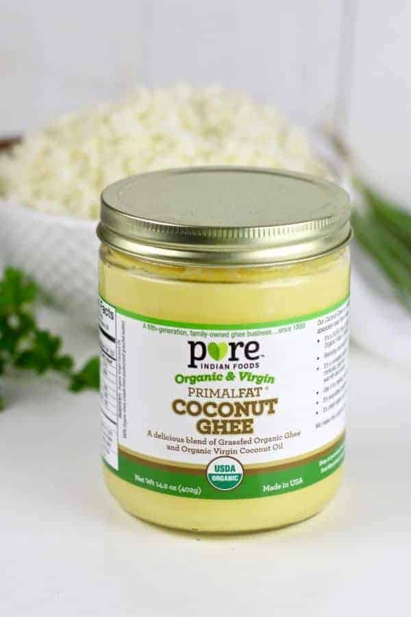 Pure Indian Foods Ghee | How To Make Cauliflower Rice: A step-by-step photo tutorial  how to cook cauliflower rice | cauliflower rice recipes | whole30 side dishes | gluten-free side dishes | dairy-free side dishes | vegan side dishes | paleo side dishes | gluten-free cauliflower rice | whole30 recipe ideas || The Real Food Dietitians #whole30recipes #cauliflowerrice
