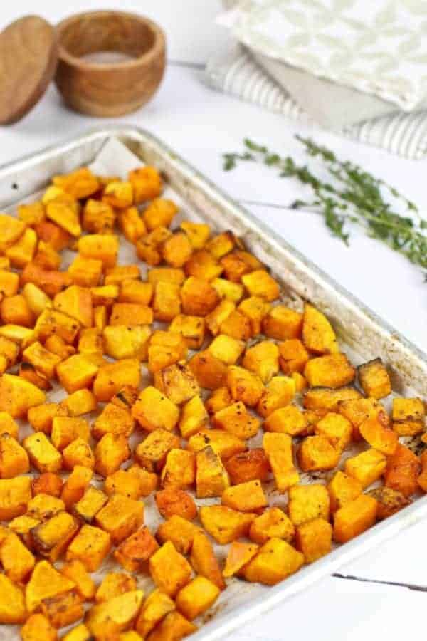 Butternut Squash Home Fries on a baking sheet