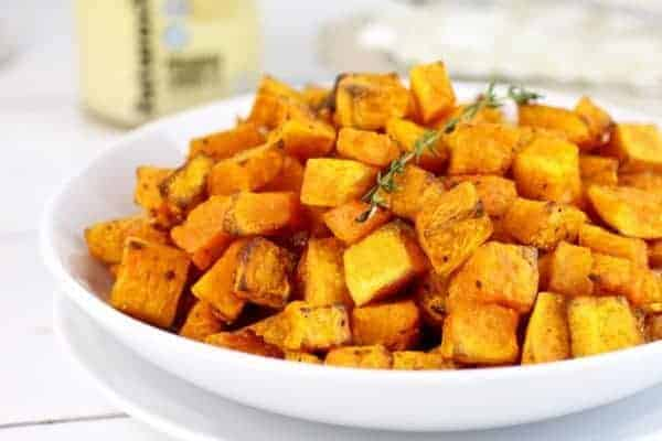 Butternut Squash Home Fries on a white plate