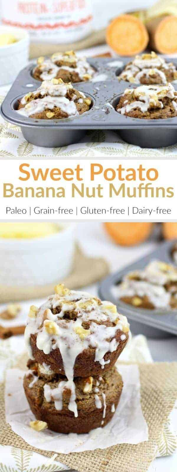 Leftover sweet potatoes and ripe bananas come together to create these perfectly-textureed, high-protein, Paleo-friendly, Grain-free Sweet Potato Banana Nut Muffins | therealfoodrds.com