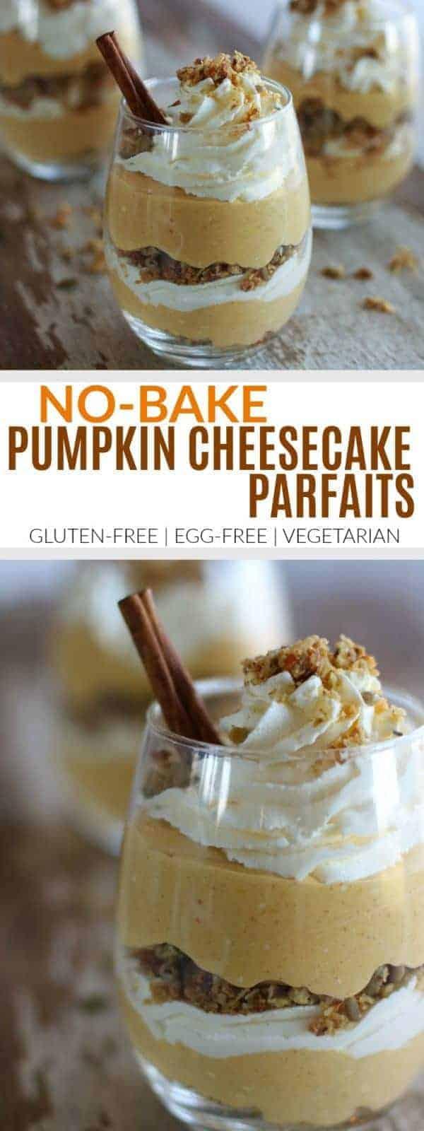 Pinterest image for No-Bake Pumpkin Cheesecake Parfaits