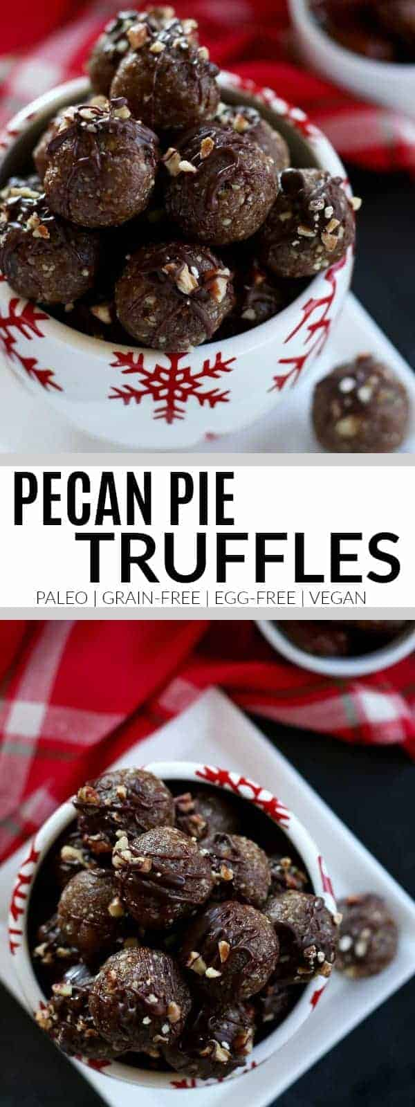 We took the best parts of the pie, added protein and then drizzled them with chocolate in these irresistible No-Bake Pecan Pie Truffles | Paleo | Grain-free | Gluten-free | Egg-free | Dairy-free | healthy holiday recipes | paleo holiday desserts | gluten-free holiday desserts | dairy-free holiday desserts || The Real Food Dietitians #paleoholiday #glutenfreeholiday #healthyholidayrecipes