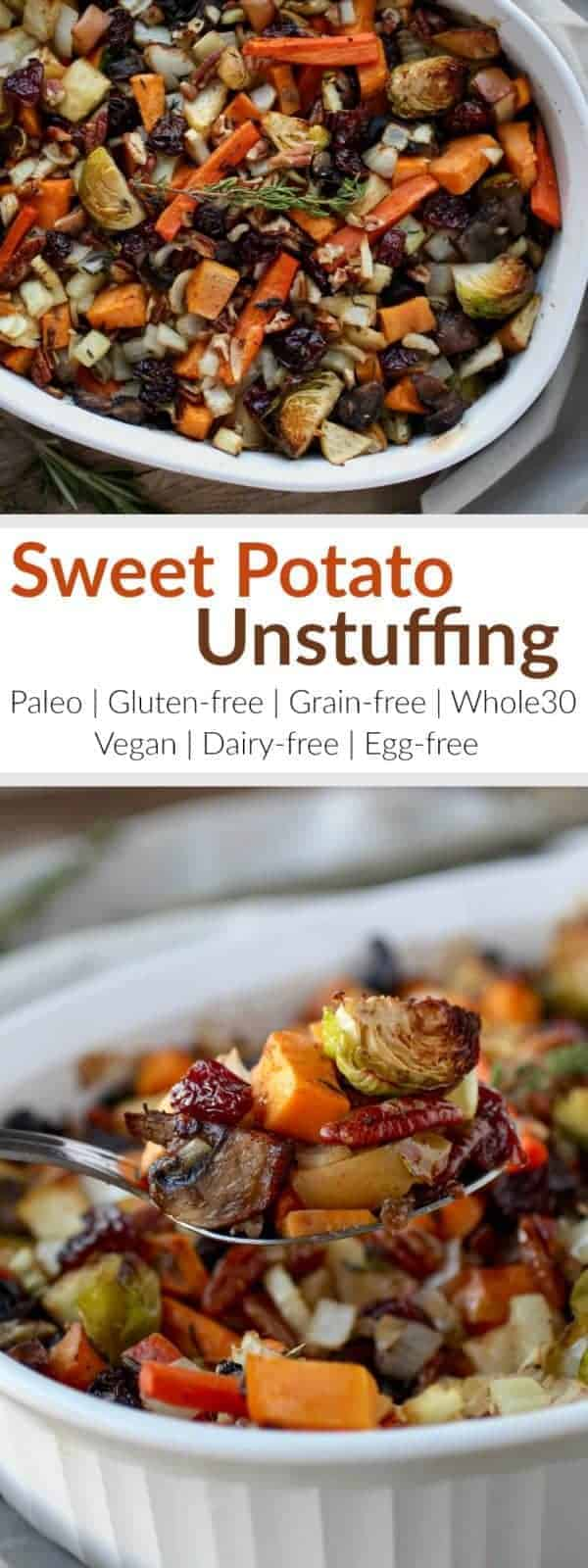 Gluten-Free Sweet Potato Unstuffing makes for a crowd-pleasing Thanksgiving side-dish or a tasty addition to your weeknight menu. | paleo thanksgiving recipes | gluten-free thanksgiving recipes | grain-free thanksgiving recipes | whole30 thanksgiving recipes | vegan thanksgiving recipes | dairy-free thanksgiving recipes | egg-free thanksgiving recipes | healthy thanksgiving recipes || The Real Food Dietitians