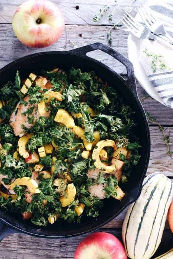 One-Pan Chicken, Apple & Squash Skillet