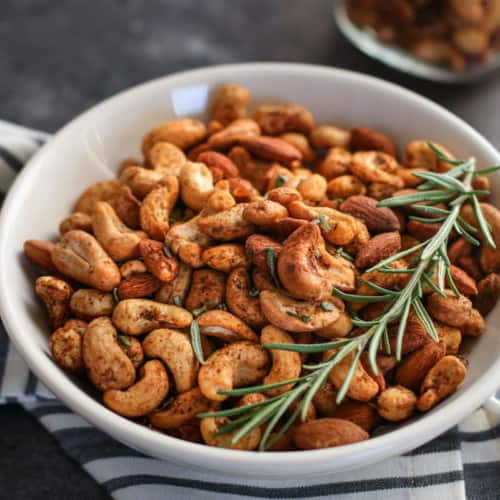 Chili and Rosemary Roasted Nuts| Paleo + Whole30 | The Real Food Dietitians | https://therealfooddietitians.com/chili-rosemary-roasted-nuts/