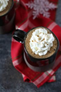 Overhead view of Dairy-free Gingerbread Hot Cocoa in a mug