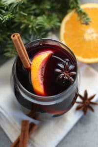 Overhead view of  Slow Cooker Mulled Wine in a small tumblar