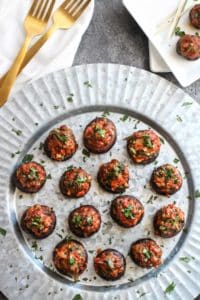 Chorizo Stuffed Mushrooms | whole30 appetizers | paleo appetizers | gluten-free appetizers | egg-free appetizers | healthy appetizer recipes | easy appetizer recipes || The Real Food Dietitians #healthyappetizers #whole30appetizers #glutenfreeappetizers