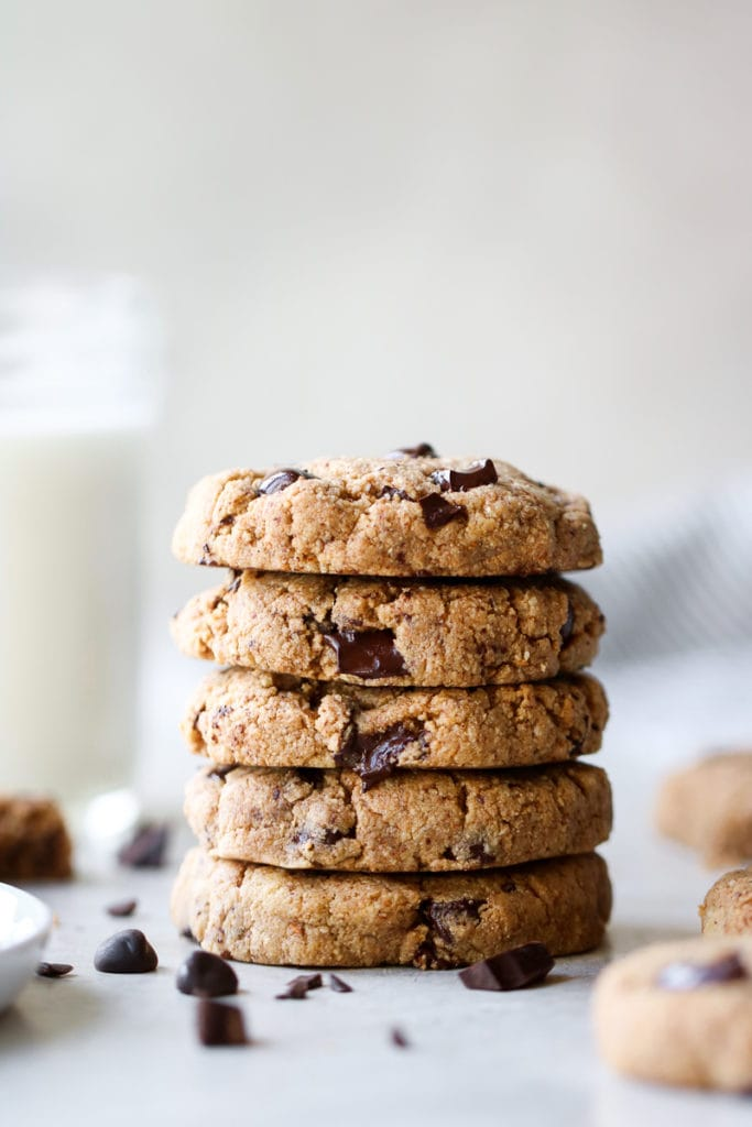 A perfect stack of five Paleo Chocolate Chip Cookies.