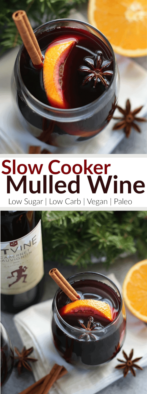 Slow Cooker Mulled Wine | Low-sugar | healthy holiday drinks | homemade mulled wine | homemade holiday drinks | low carb holiday drinks | vegan holiday drinks | paleo holiday drinks || The Real Food Dietitians #mulledwine #healthyholidays #lowsugar #lowcarbdrinks