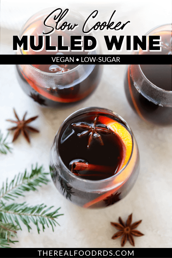 Slow Cooker Mulled Wine overhead image | pin for pinterest
