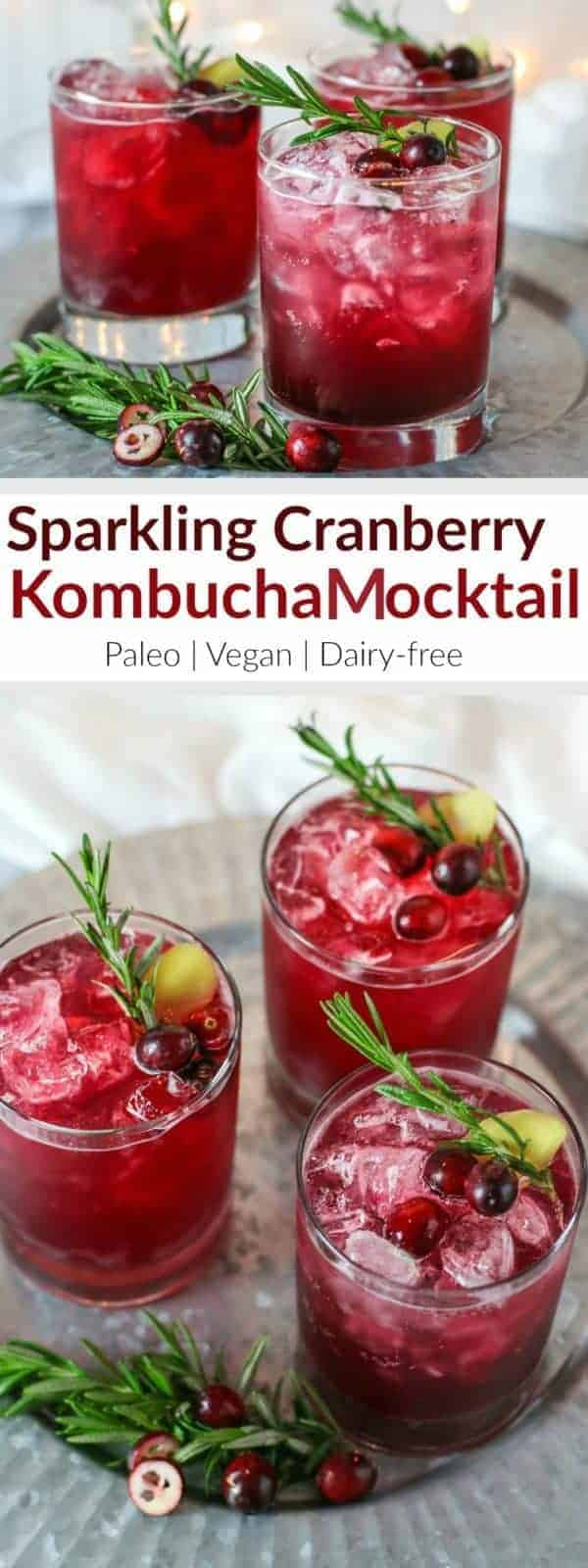 Sparkling Cranberry Kombucha Mocktail | healthy holiday drink recipes | holiday mocktail recipes | non-alcoholic holiday drinks | cranberry drink recipes | paleo holiday drinks | vegan holiday drinks | dairy-free holiday drinks || The Real Food Dietitians #holidaydrinks #mocktails #cranberrydrinks #holidayrecipes