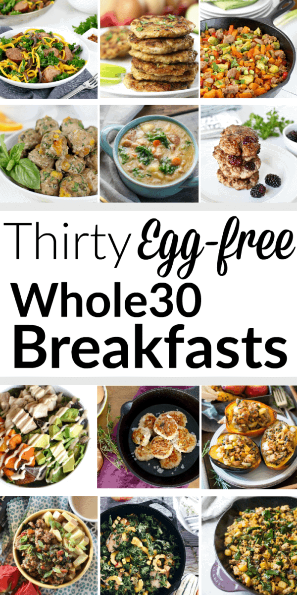 Pinterest image for Thirty Egg-free Whole30 Breakfasts