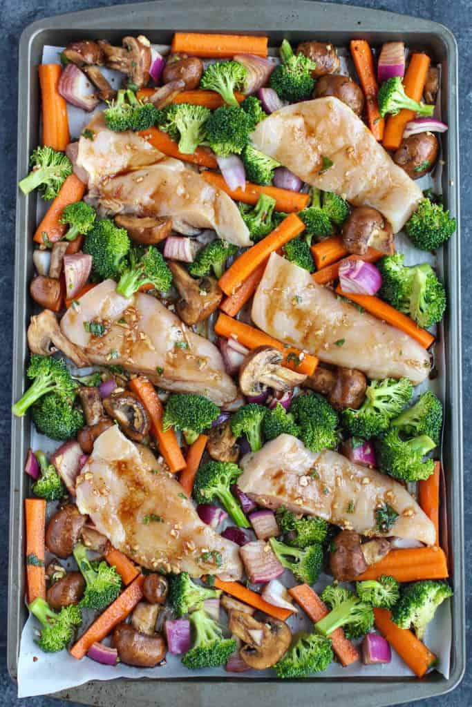 Pre-Cooked One-Pan Balsamic Chicken Veggie Bake on a sheet pan