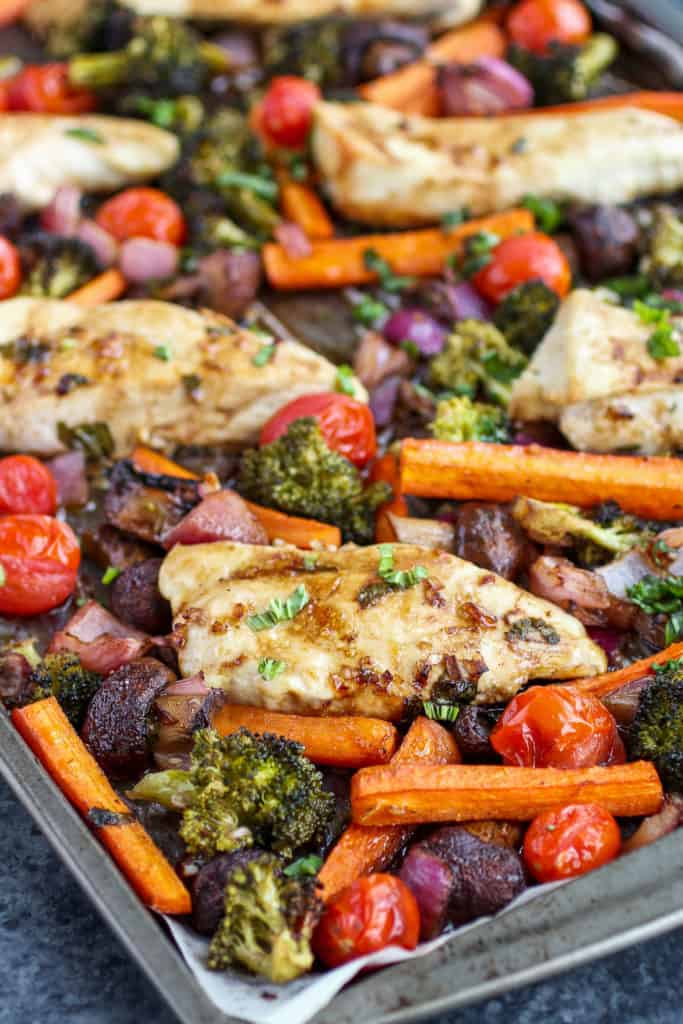 One-Pan Balsamic Chicken Veggie Bake on a sheet pan