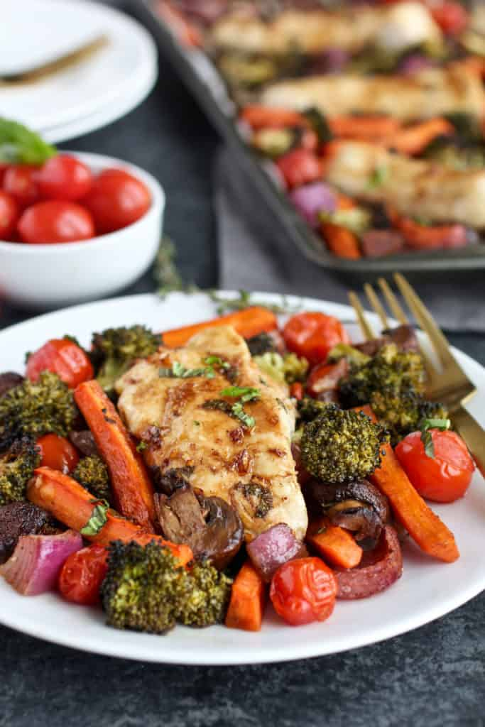 One-Pan Balsamic Chicken Veggie Bake on a white plate