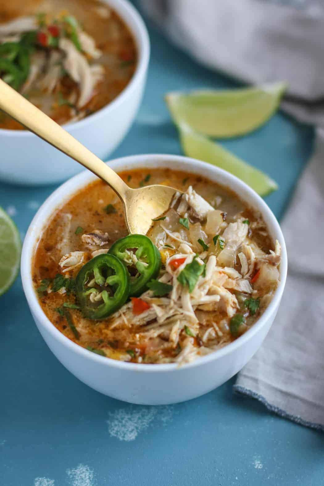 Slow Cooker White Chicken Chili | 30 Whole30 Soups, Stews & Chilis | healthy soup recipes | whole30 meal ideas | whole30 recipes | whole30 chili recipes || The Real Food Dietitians #whole30soups #whole30recipe #whole30meals