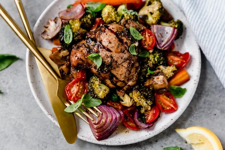 One Pan Balsamic Chicken Veggie Bake The Real Food Dietitians