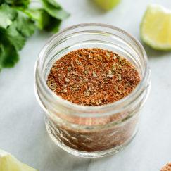 Homemade Taco Seasoning mixed together in a small jar
