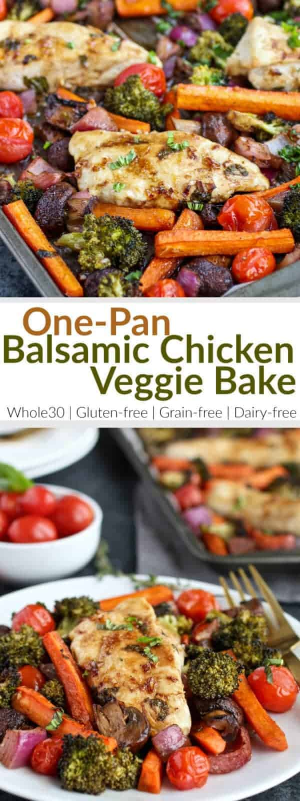 Pinterest image for One-Pan Balsamic Chicken Veggie Bake
