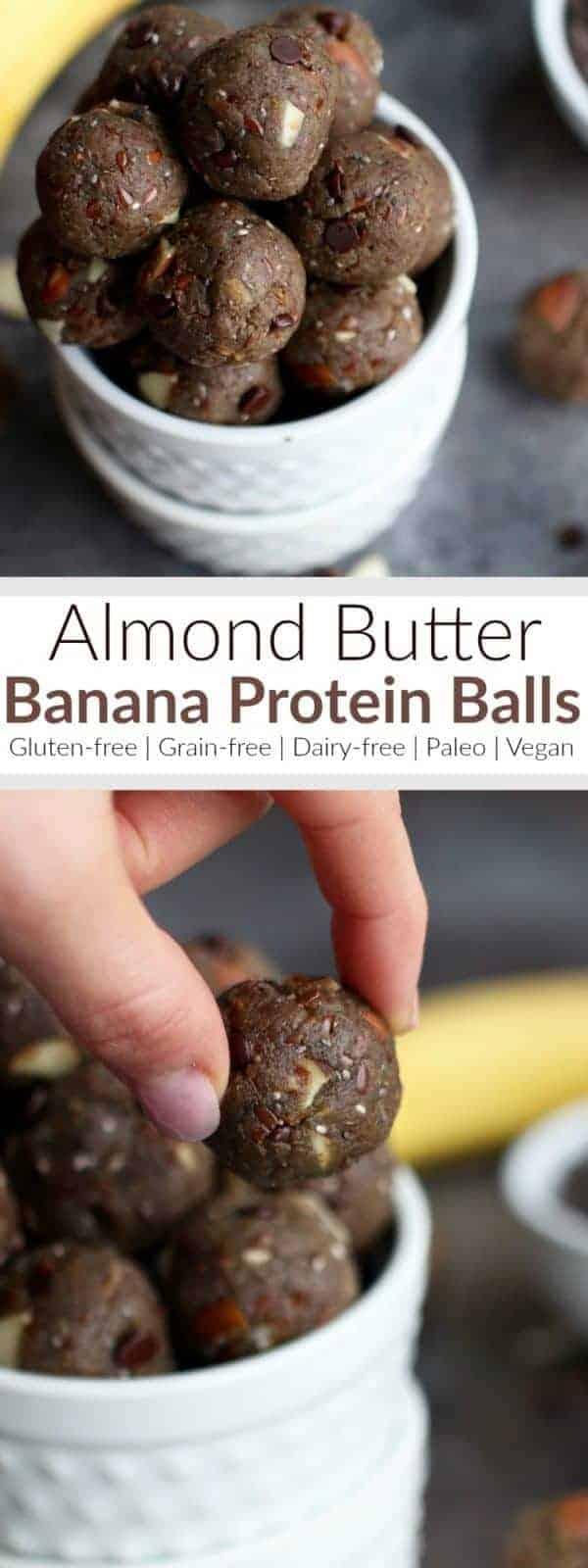 Pinterest image for Almond Butter Banana Protein Balls