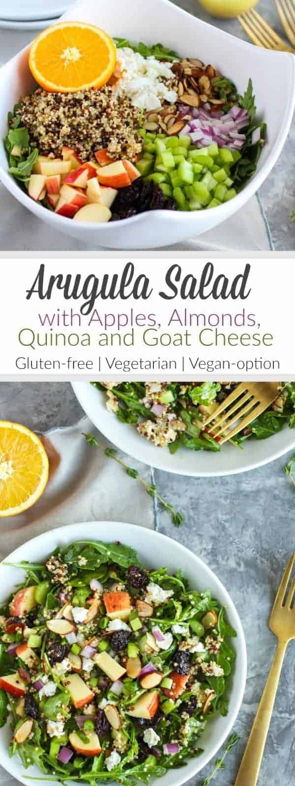 Pinterest image for Arugula Salad with Apples, Almond, Quinoa and Goad Cheese