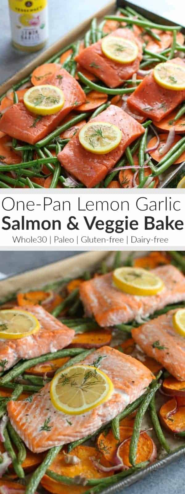 Pinterest image for One Pan Salmon & Veggie Bake