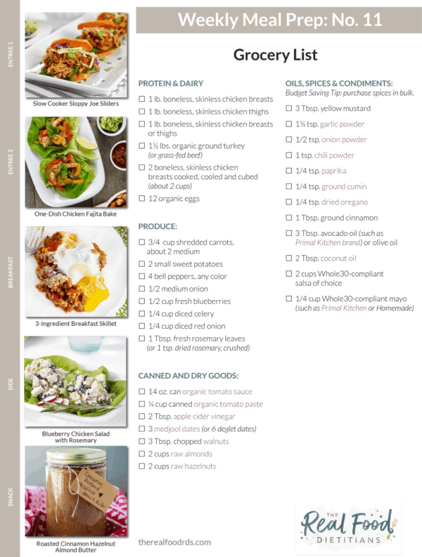12 meal prep menus grocery lists the real food dietitians