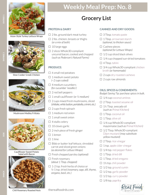 12 meal prep menus grocery lists the real food dietitians meal prep menu forumfinder Images