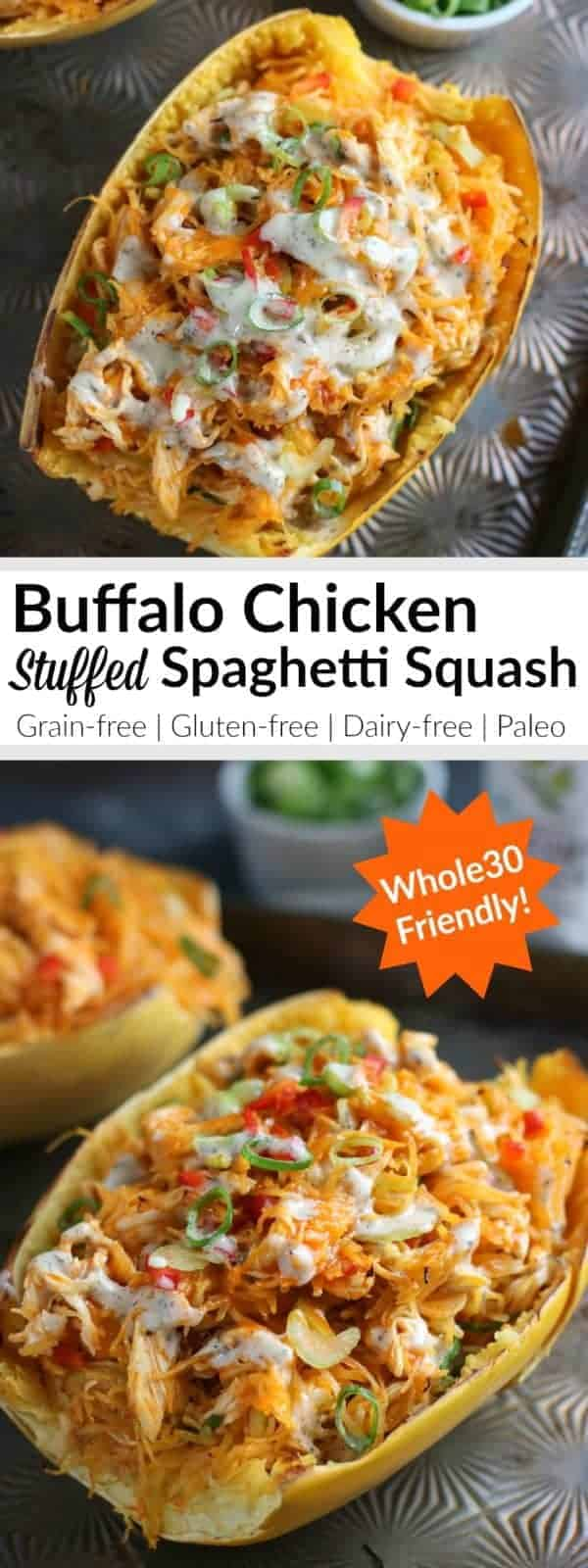 Pinterest image for Buffalo Chicken Stuffed Spaghetti Squash