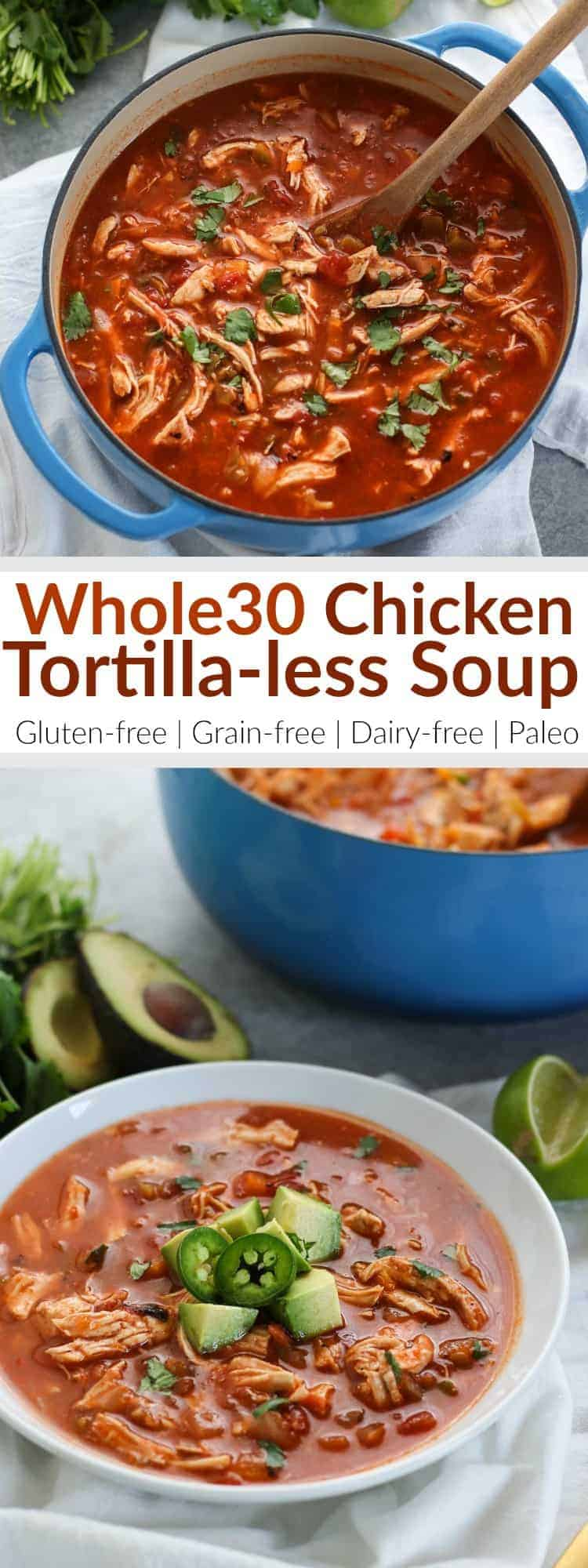 Pin image for Whole30 Chicken Tortilla-less Soup