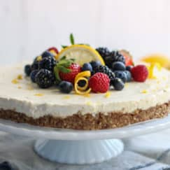 No-Bake Lemon Cheesecake | The Real Food Dietitians | https://therealfoodrds.com/no-bake-lemon-cheesecake/